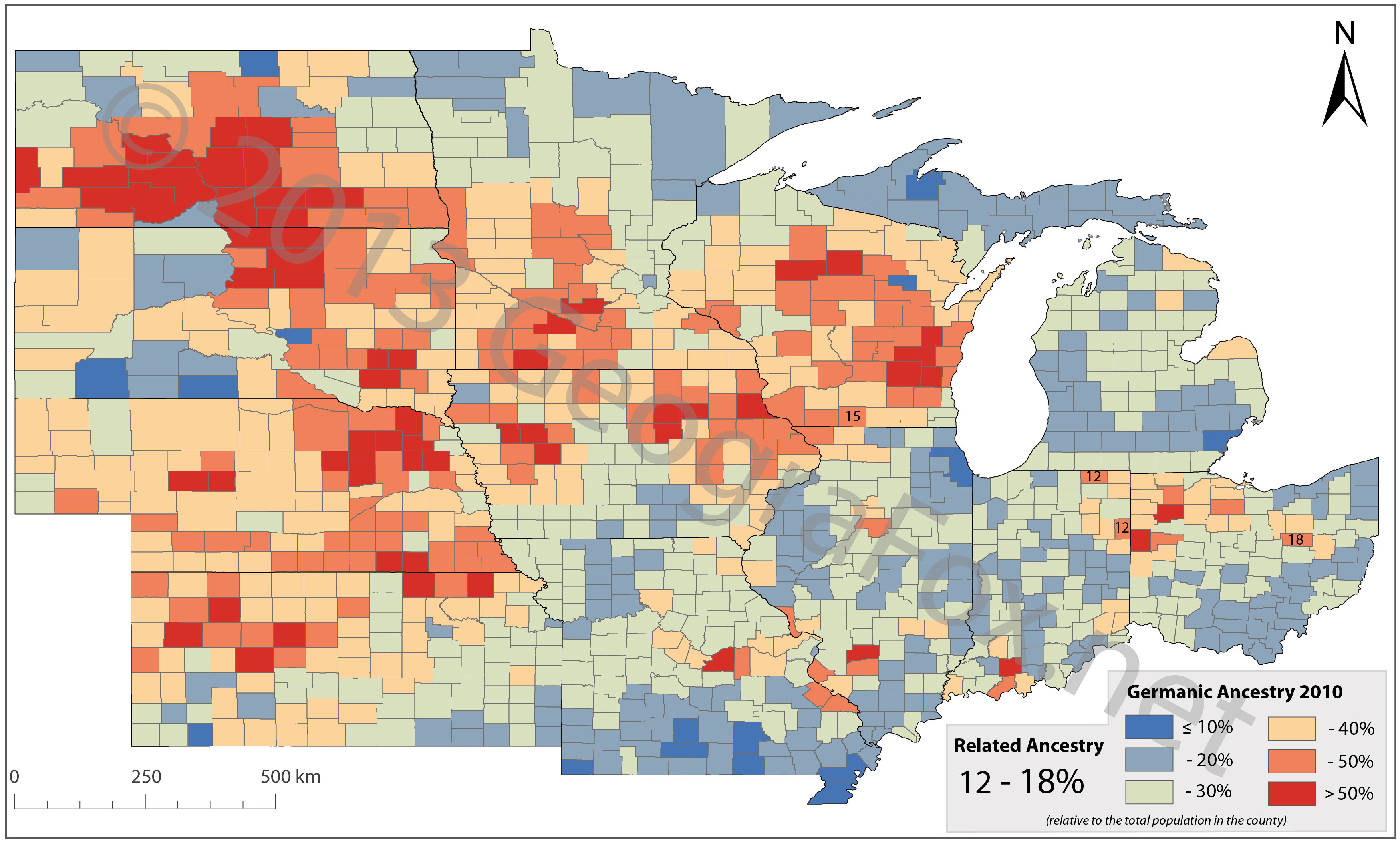 Germans In The American Midwest GeograFox - Us census ancestry map